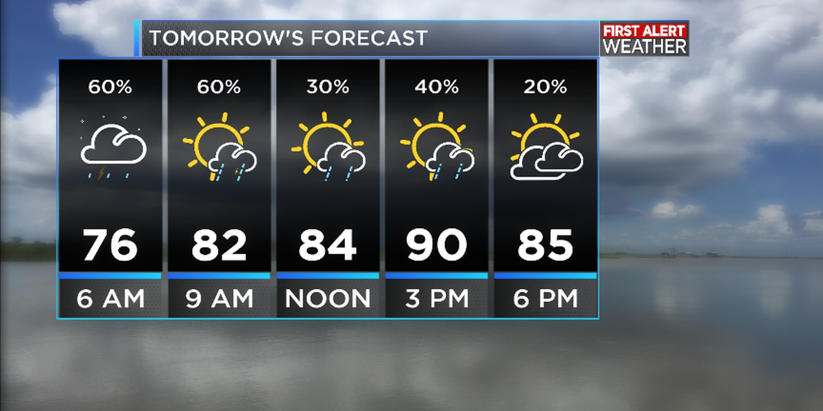 First Alert Forecast: Thunderstorms expected to move through SWLA early Monday morning