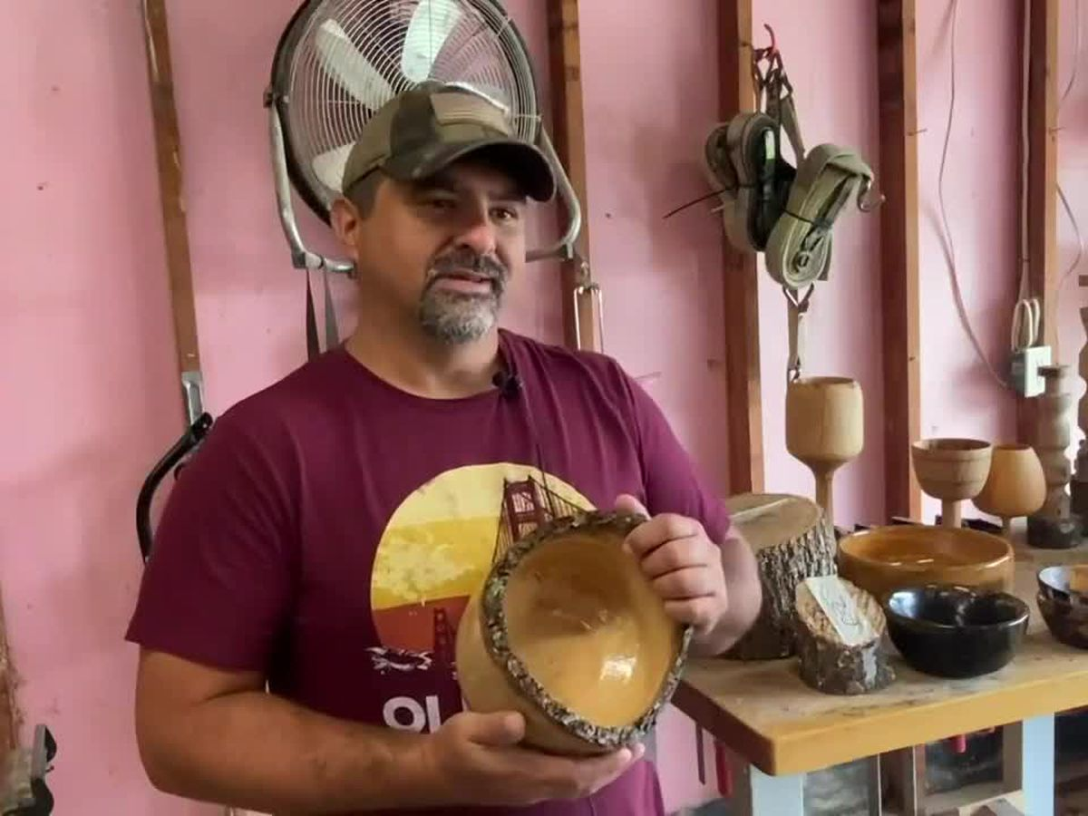 Woodworker turns downed trees into works of art