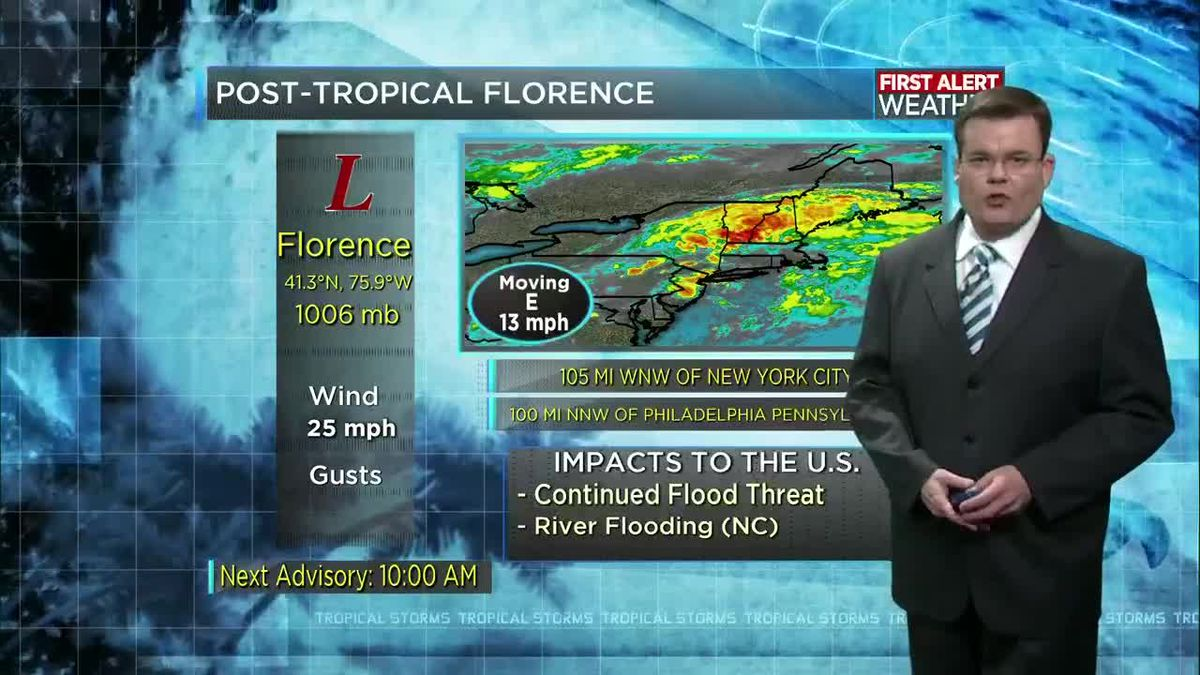 TROPICAL UPDATE: Florence makes its final departure off the East Coast today