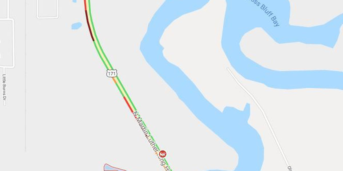 TRAFFIC: Accident on U.S. 171 at the bridge in Moss Bluff, southbound lanes blocked
