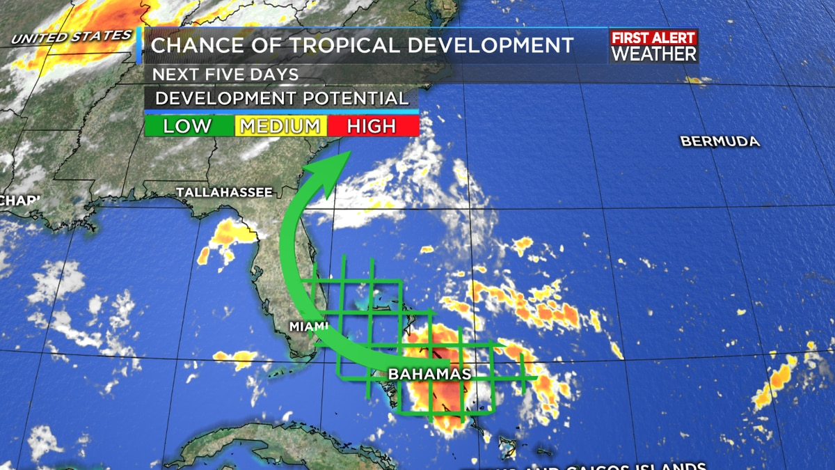 Tropical development possible over the Bahamas this week; unlikely threat to Gulf