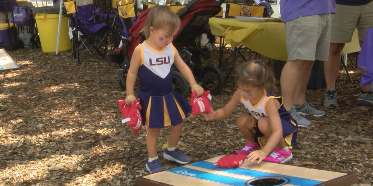 Tiger fans celebrate first football game of the season
