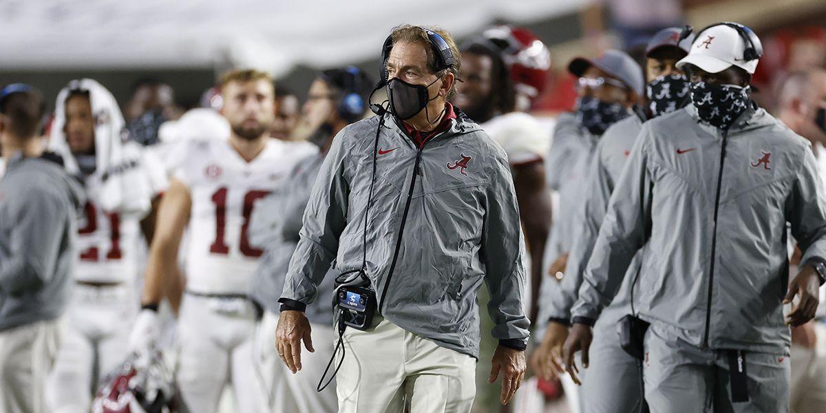 Alabama head coach Nick Saban has tested positive for COVID-19