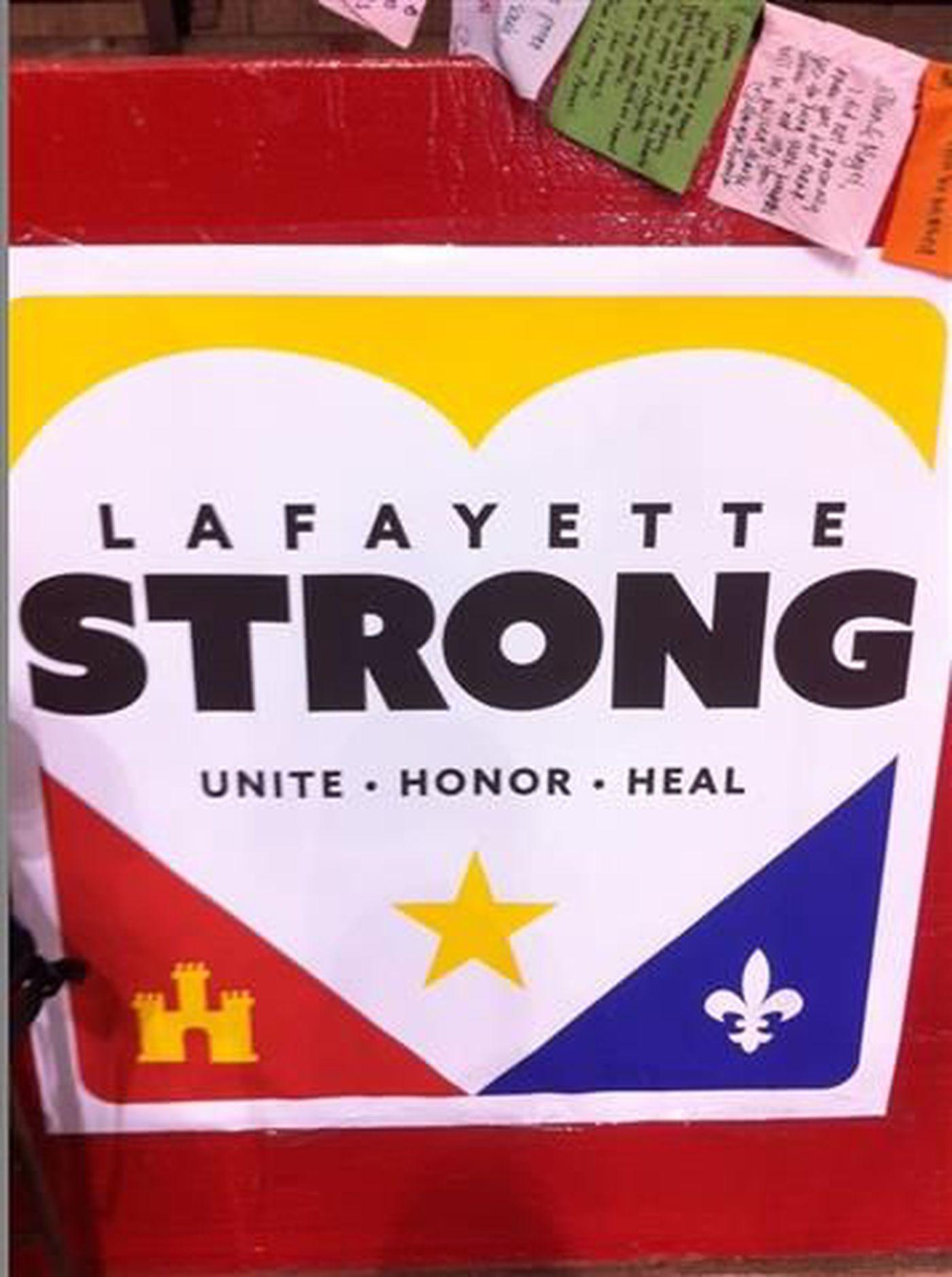2abdda3963bdce Lafayette Strong Unite Honor Heal Helps Munity Move Forward. Acadian Flag  Rod Romero