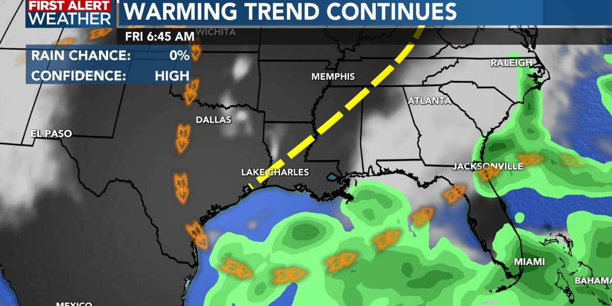 First Alert Forecast: Gradual warming trend continues, very limited rain possible this weekend