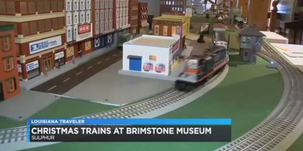 Christmas model trains running at Brimstone Museum in December
