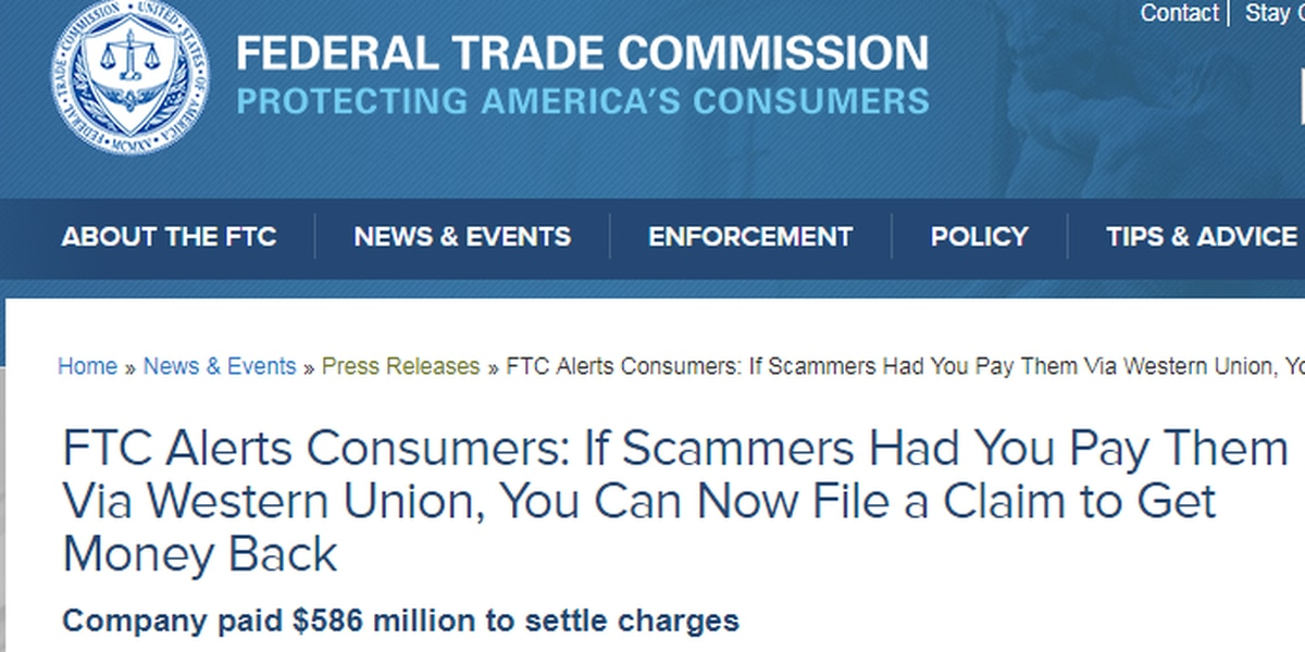 Victims who used Western Union to wire money to scammers may be ...