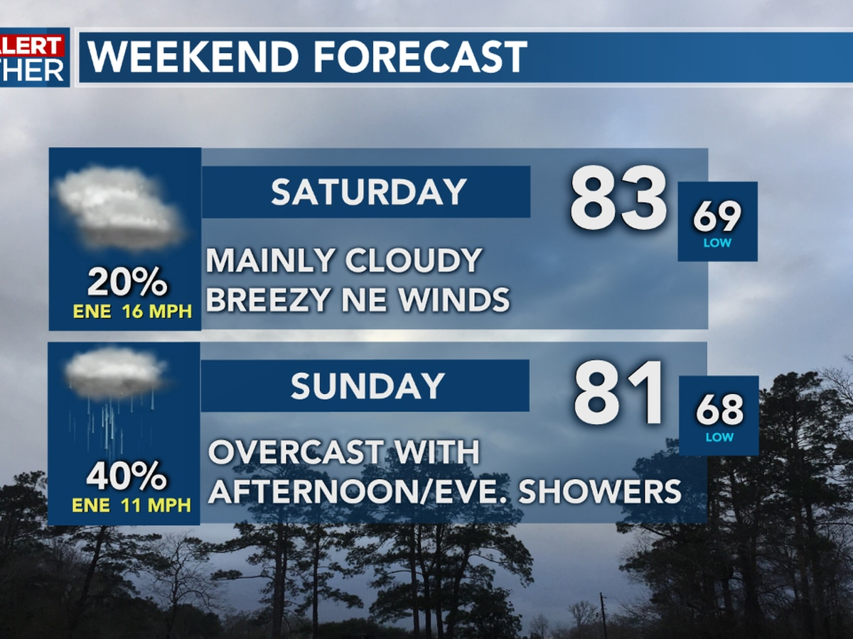 FIRST ALERT FORECAST: A cloudy weekend ahead with a few showers, eyes remain on the Gulf this weekend