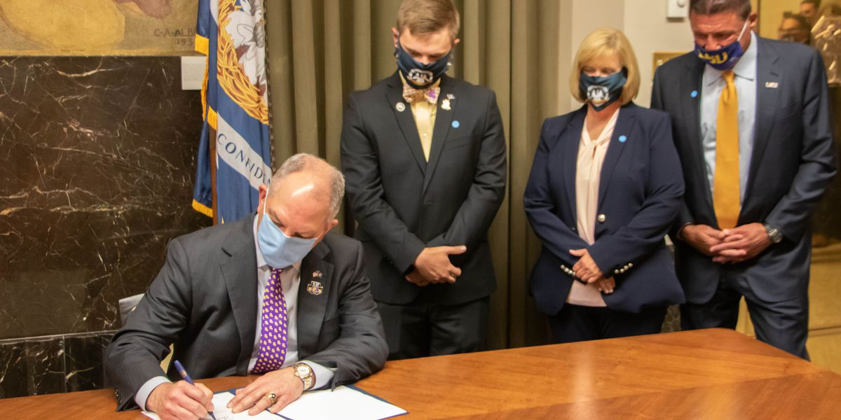 Gov. Edwards signs late Rep. Reggie Bagala's LSU license plate bill into law