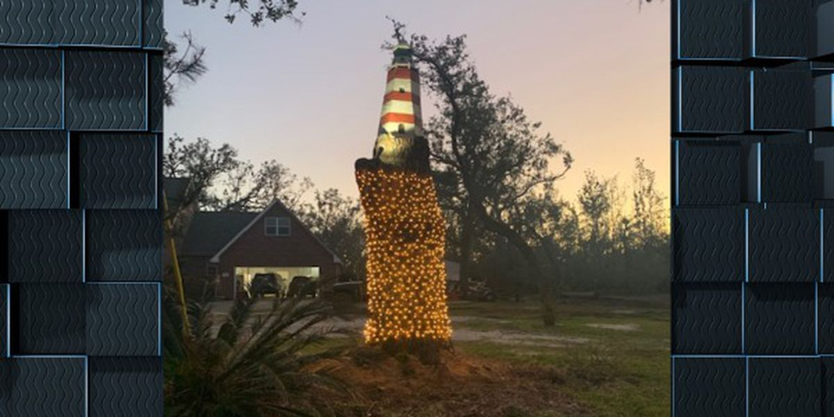 Chainsaw artist turns damaged tree into lighthouse art