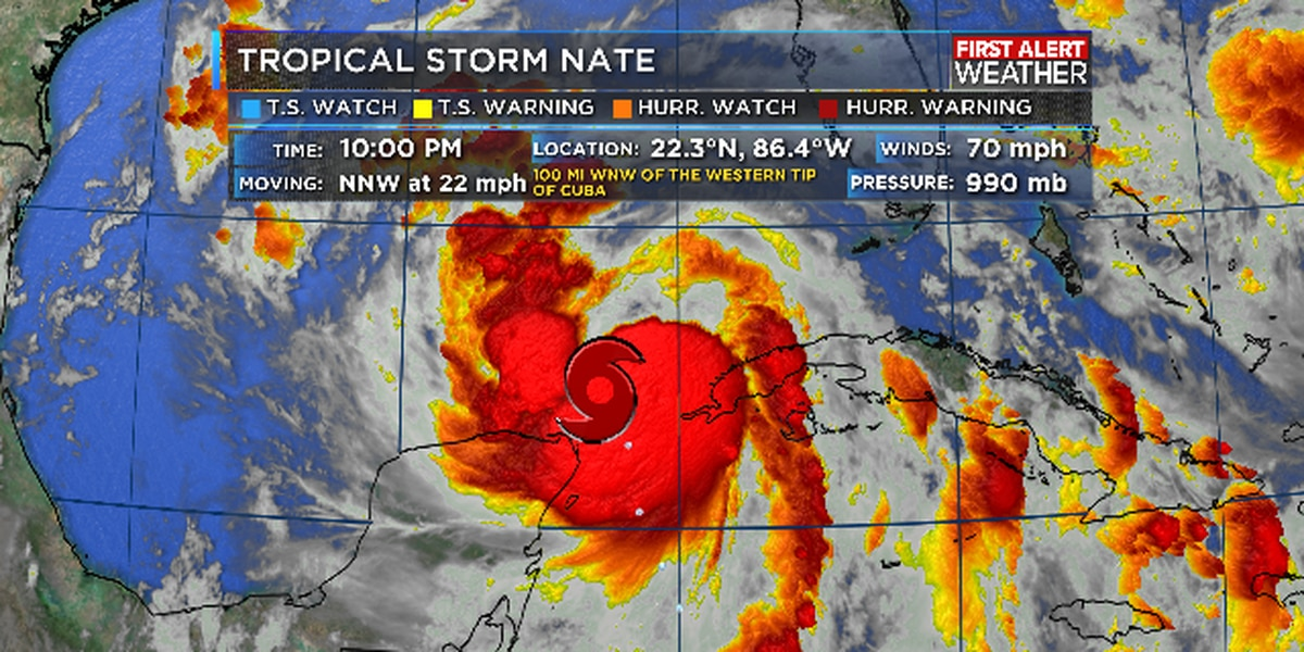 Nate now a hurricane, landfall likely late Saturday; no threat to SWLA