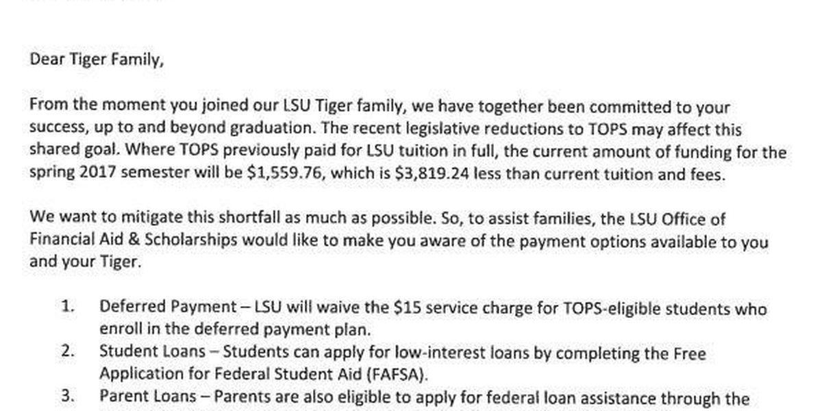 McNeese, LSU students getting notices about reduced TOPS
