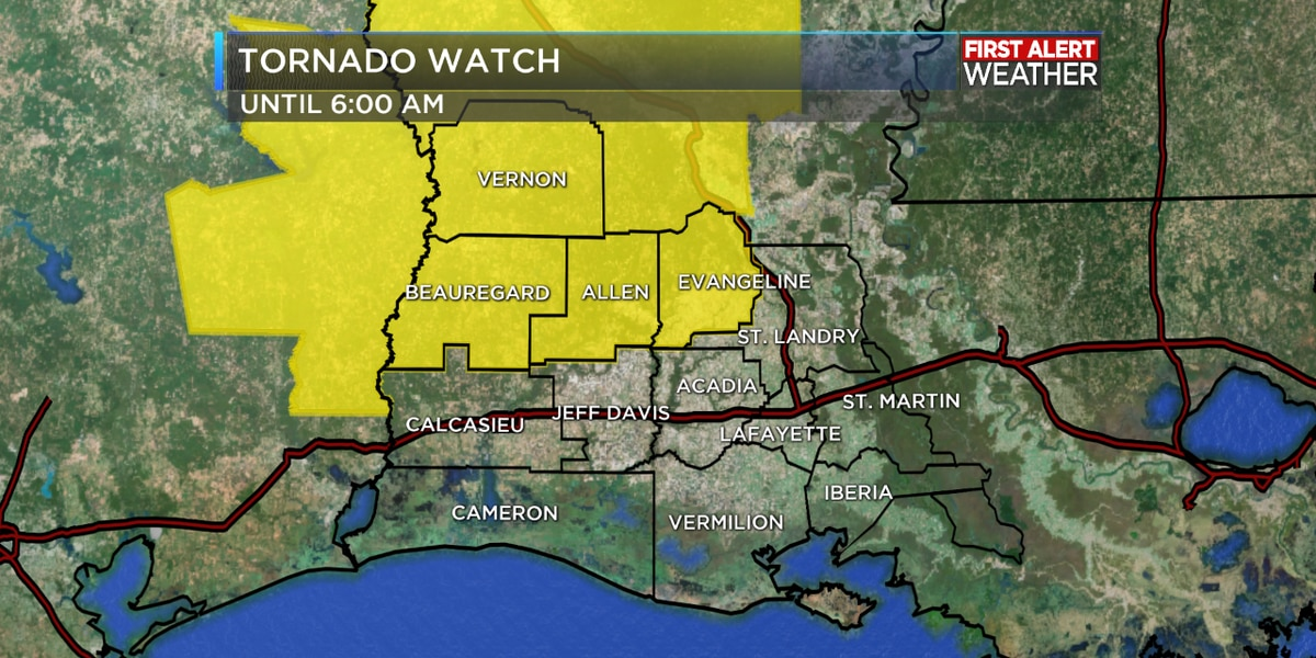 FIRST ALERT WEATHER: Tornado watch issued for Vernon, Beauregard and Allen Parishes