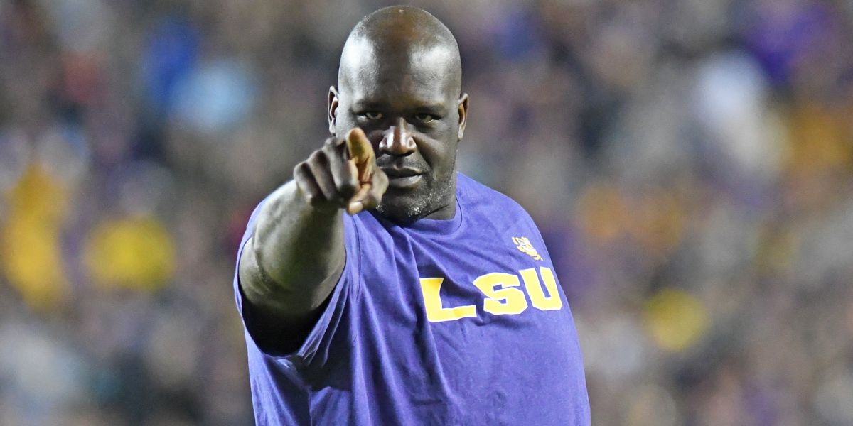 Shaquille O'Neal joins in the revelry in Tiger Stadium for LSU vs. Arkansas