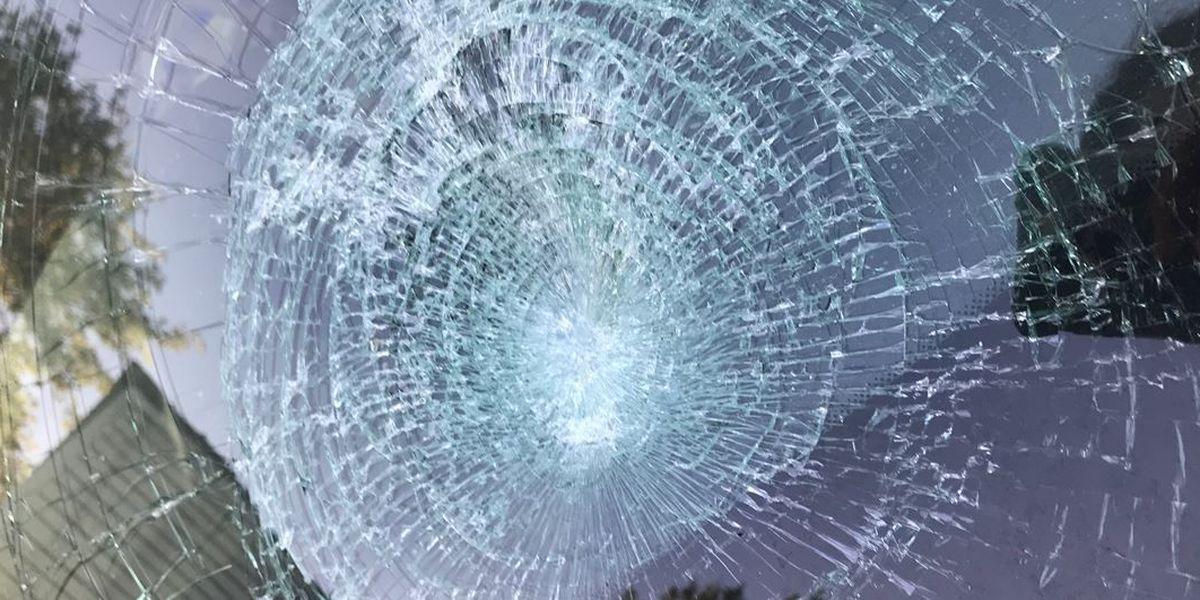 Debris smashes woman's windshield