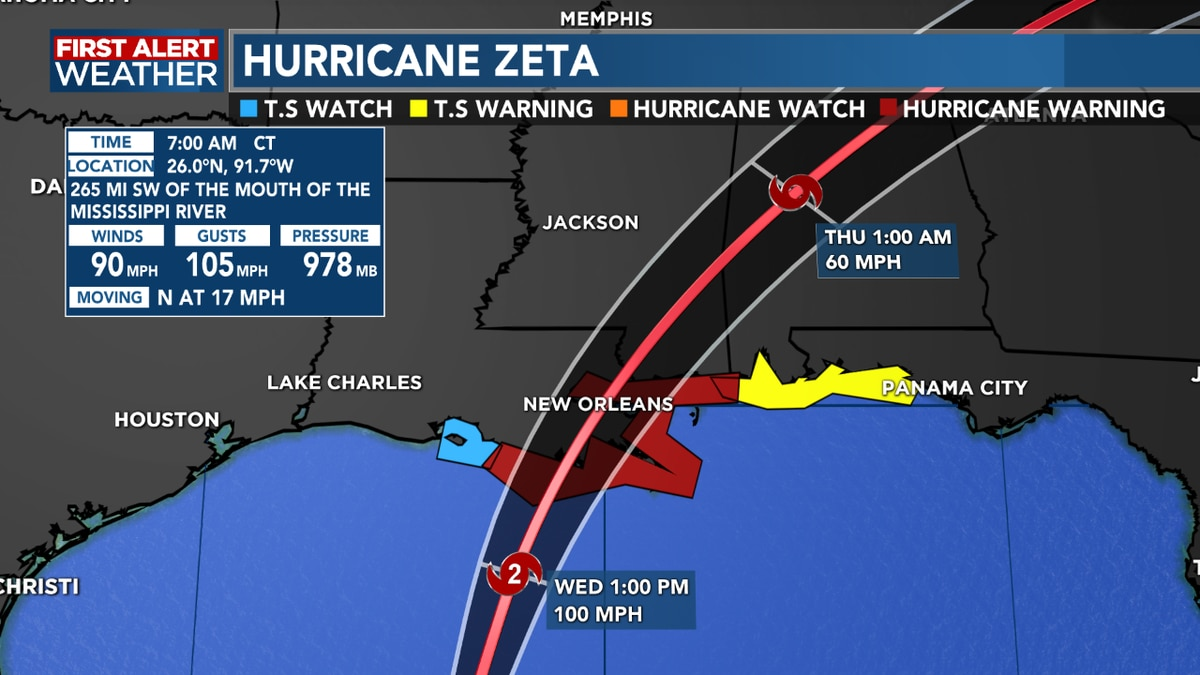 FIRST ALERT FORECAST: Zeta strengthens in the Gulf as it approaches SE Louisiana; strong cold front on the way for us as we dodge impacts