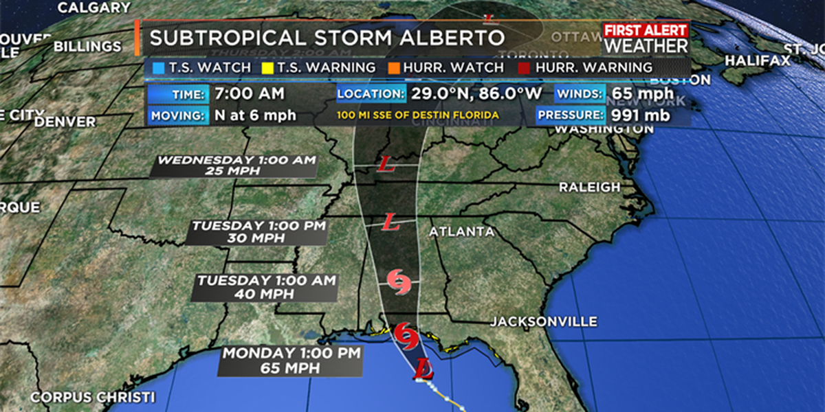 Subtropical Storm Alberto set to make landfall today