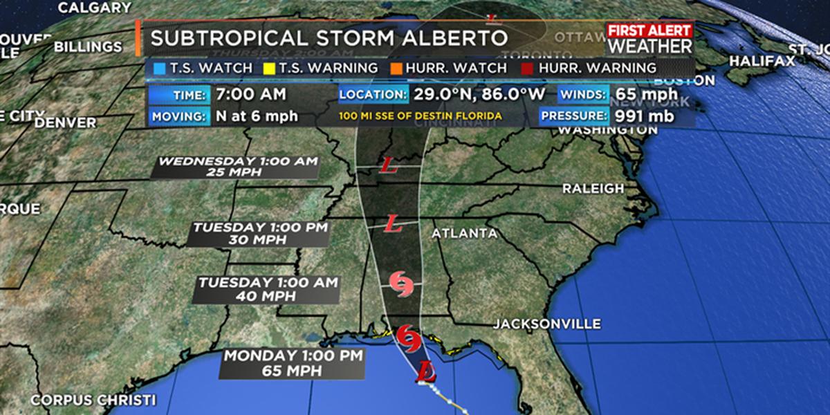 Subtropical Storm Alberto set to make landfall today