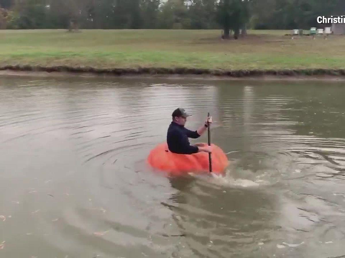 Good gourd! Farmer turns massive pumpkin into a boat