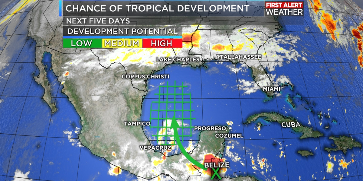 TROPICAL UPDATE: Threat in the Gulf? Unlikely…. However, rain chances go up this weekend
