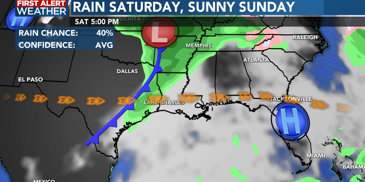 First Alert Forecast: Rain possible Saturday, but sunshine returns Sunday...