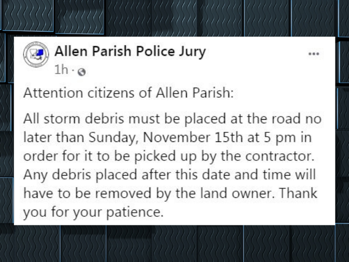 Allen Parish says storm debris must be placed at road by Nov. 15