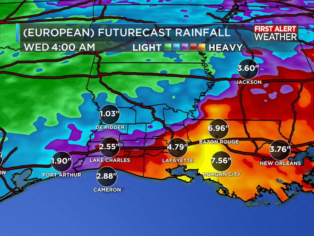 FIRST ALERT FORECAST: Above normal rain chances continue to provide more heat relief today