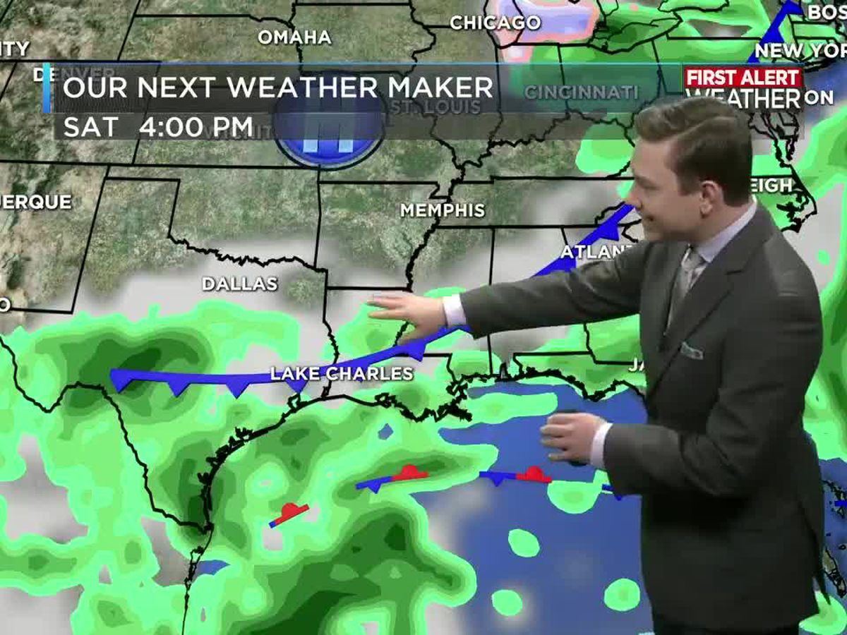 FIRST ALERT FORECAST: Rain chances go up slightly on Friday and Saturday prior to our cold front