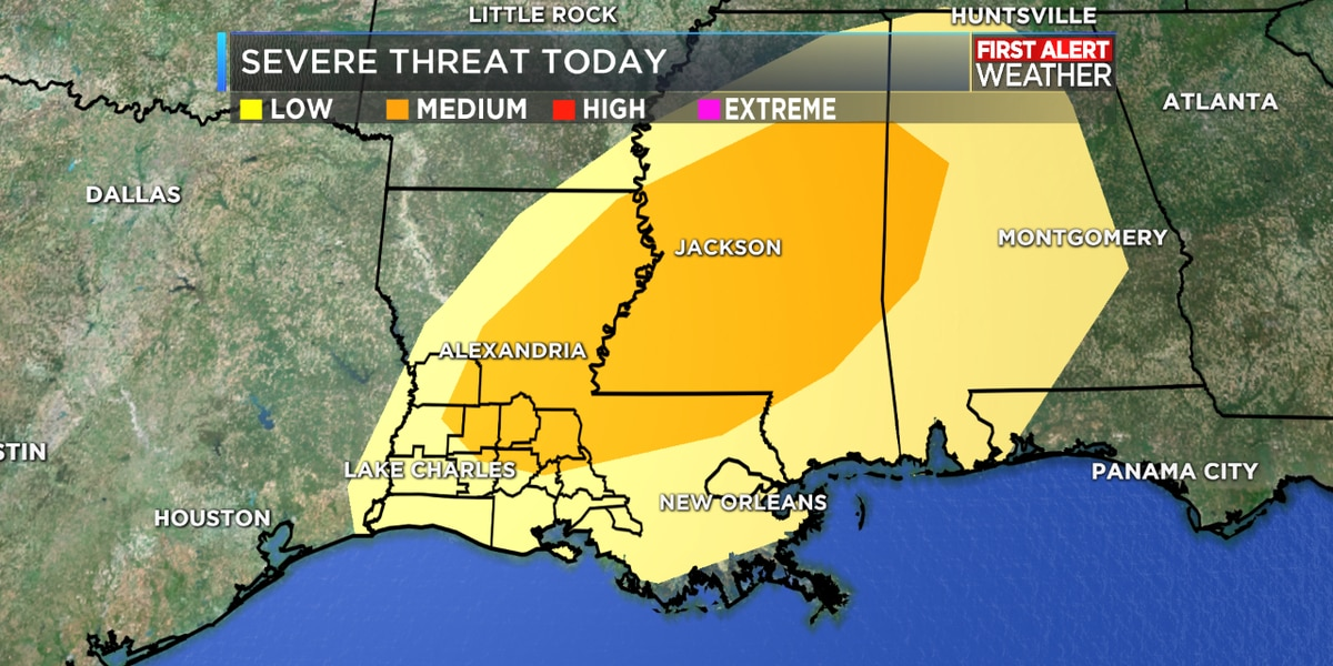 FIRST ALERT FORECAST: Severe weather possible today; cold front returns the chill by Tuesday