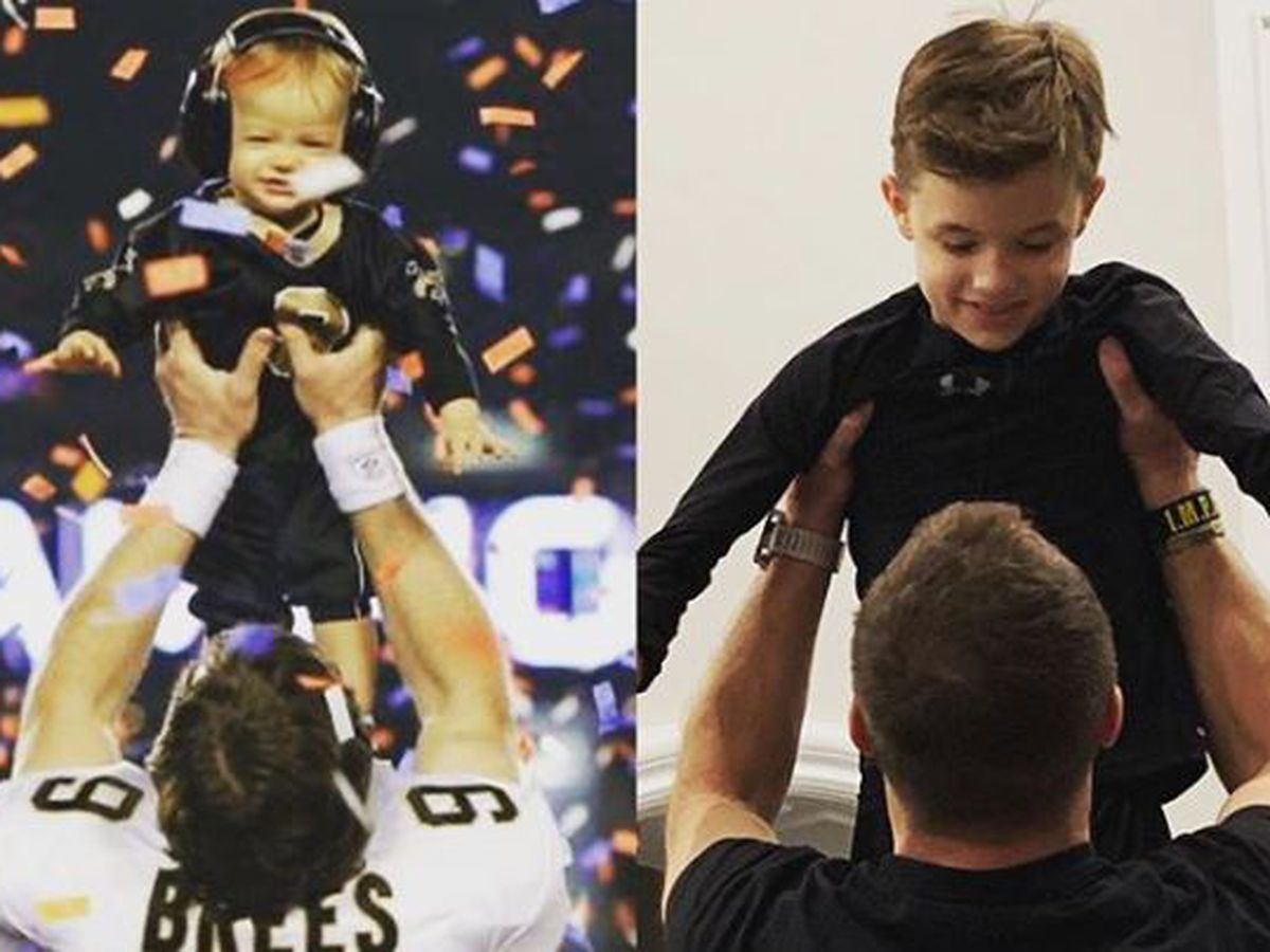 Drew Brees recreates Super Bowl celebration with son Baylen