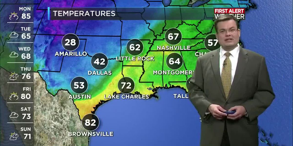 FIRST ALERT FORECAST: Front brings rain and cooler temperatures later today and tonight