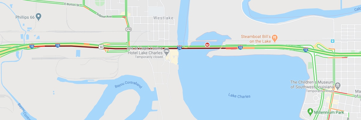I-10 East at Lakeshore Drive backed-up due to accident