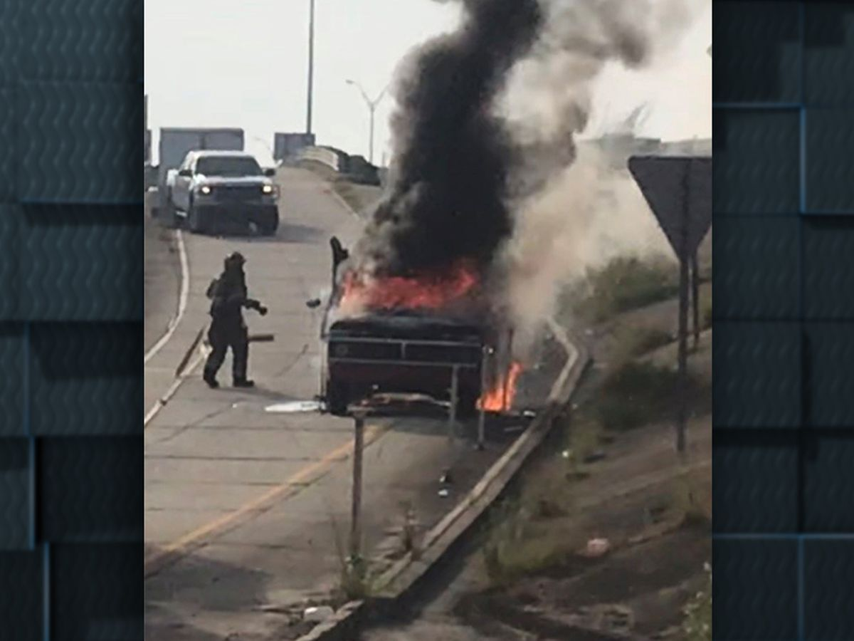 Vehicle fire on I-10 WB at Enterprise Blvd. exit ramp