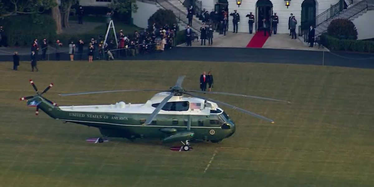 Trump departs White House for final time (aerial)
