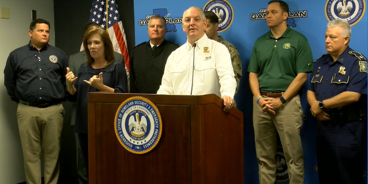 Governor Edwards holds news conference ahead of potential storm