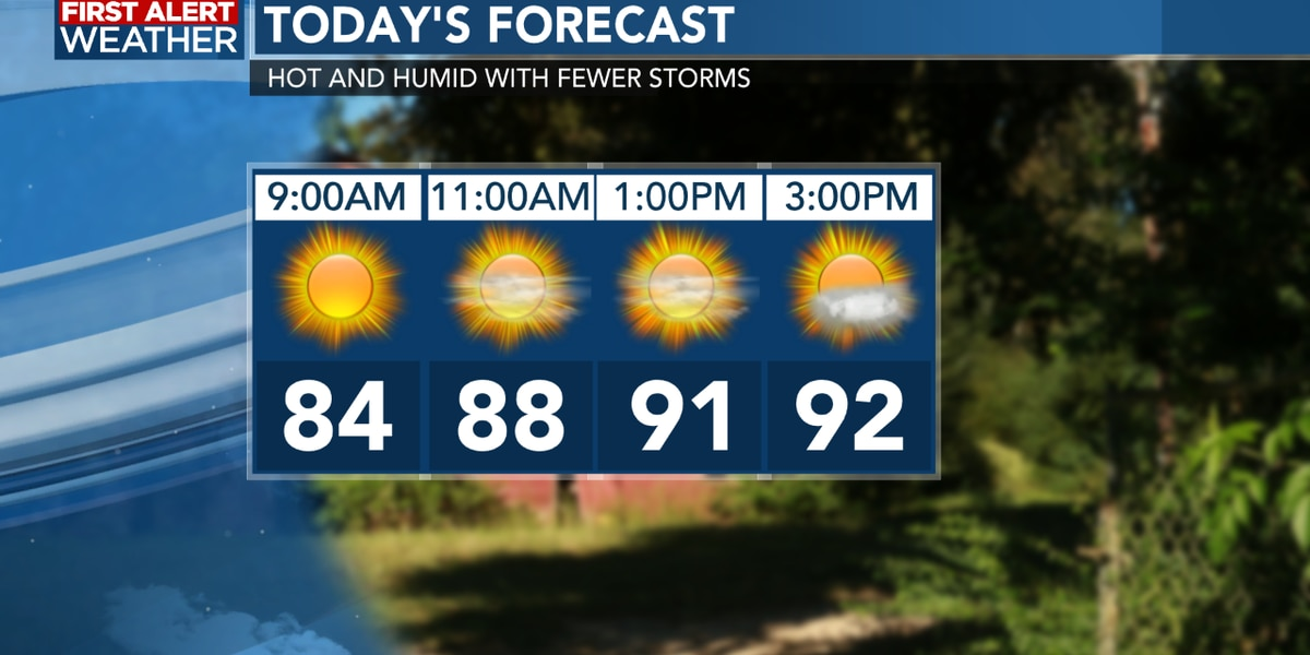 FIRST ALERT FORECAST: Hot and humid week ahead with a few afternoon storms returning