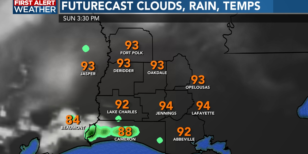 FIRST ALERT FORECAST: Scattered storms this afternoon, a hot a slightly drier Sunday ahead