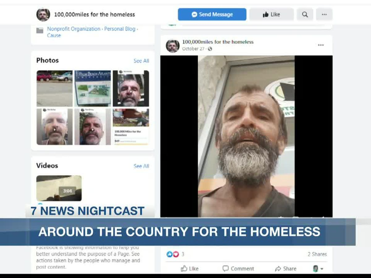 Man walking around country for the homeless