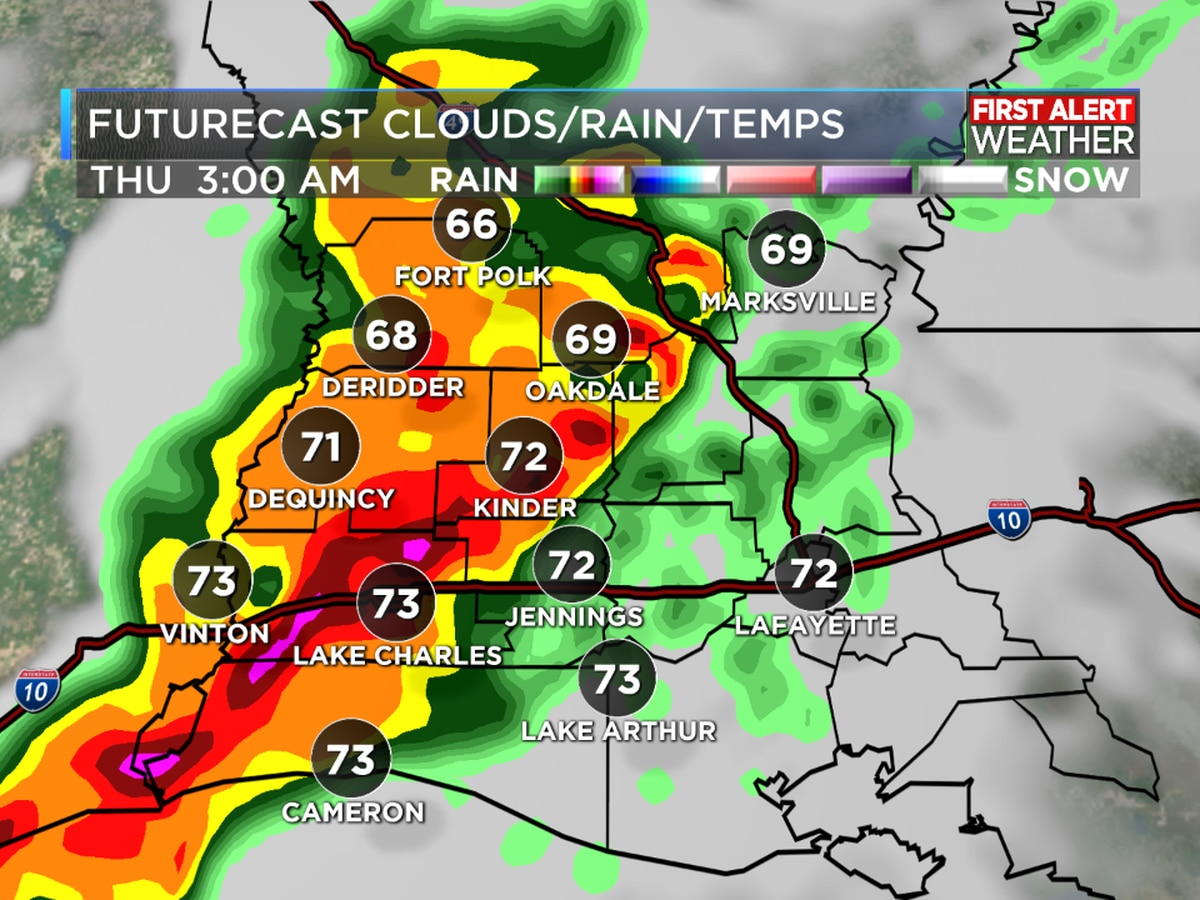 FIRST ALERT FORECAST: Clouds and humidity increase; heavy rain threat Thursday