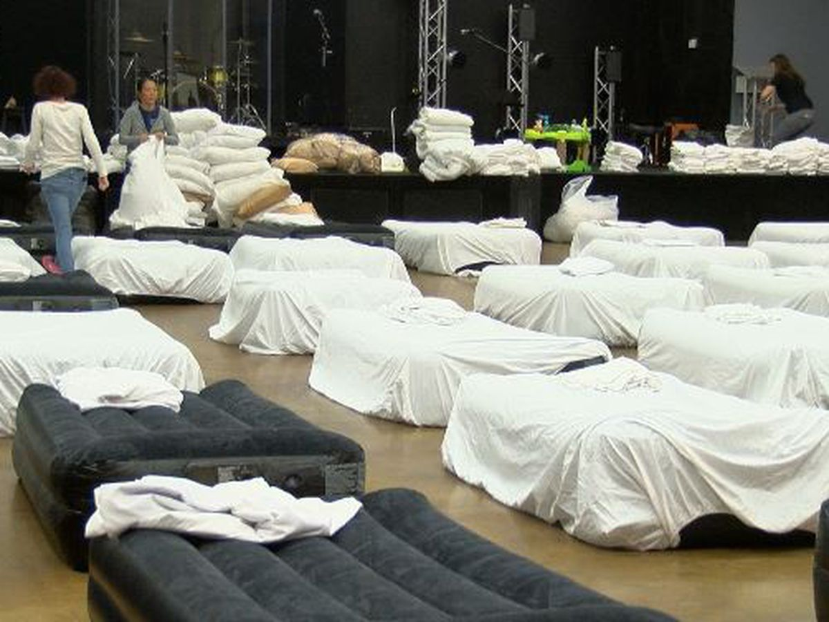 Emergency shelter with 125 beds set up to protect homeless in freezing temperatures