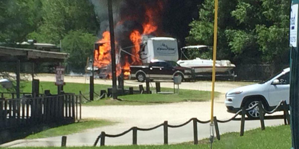 Camper catches fire at marina in Moss Bluff