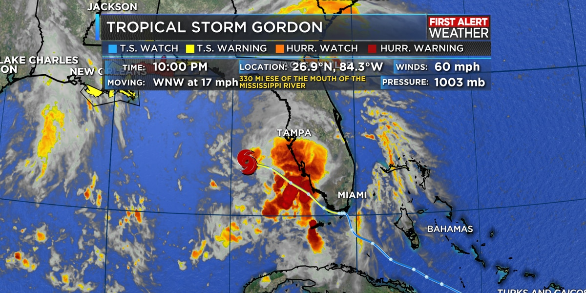 Tropical Storm Gordon strengthens over the eastern Gulf of Mexico