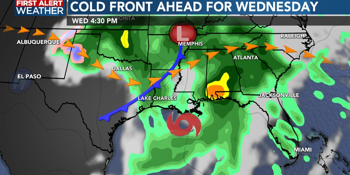 FIRST ALERT FORECAST: Warm the next few days, cold front arrives for Wednesday