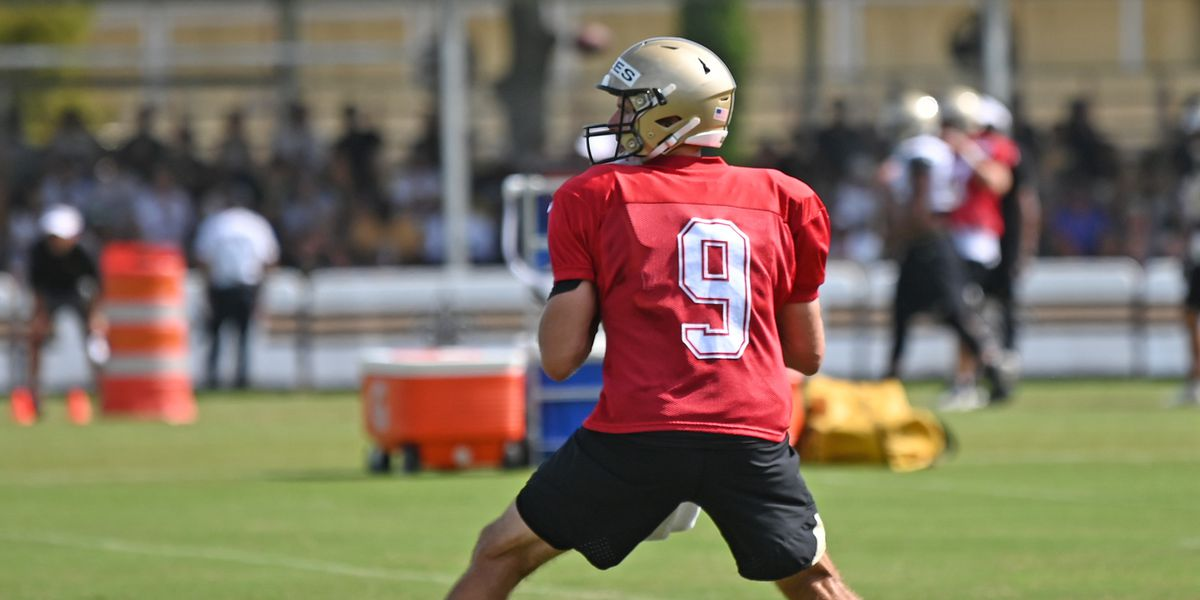 VIDEO: Brees, Payton on first day of training camp in full gear