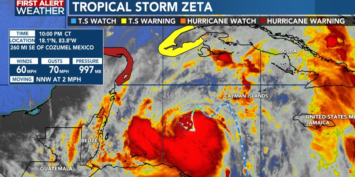 Tropical Storm Zeta slowly strengthening, moving to the north-northwest
