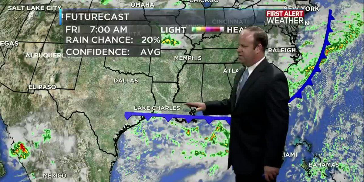 First Alert Forecast: Rain sticks around through the weekend limiting the heat